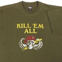 Olive katonai poló - Kill em all- S-es méret