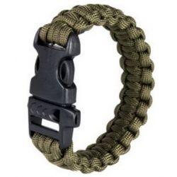 Paracord karkötő jelzősíppal - Olive