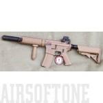 GG M4 CQB hangtompítós airsoft fegyver, desert
